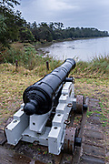 An original cannon at the Fort Frederica National Monument, the original colonial settlement in St. Simons Island, Georgia. Fort Frederica was established by Georgia founder James Oglethorpe in 1736 to serve as a bulwark against the Spanish settlements in Florida,