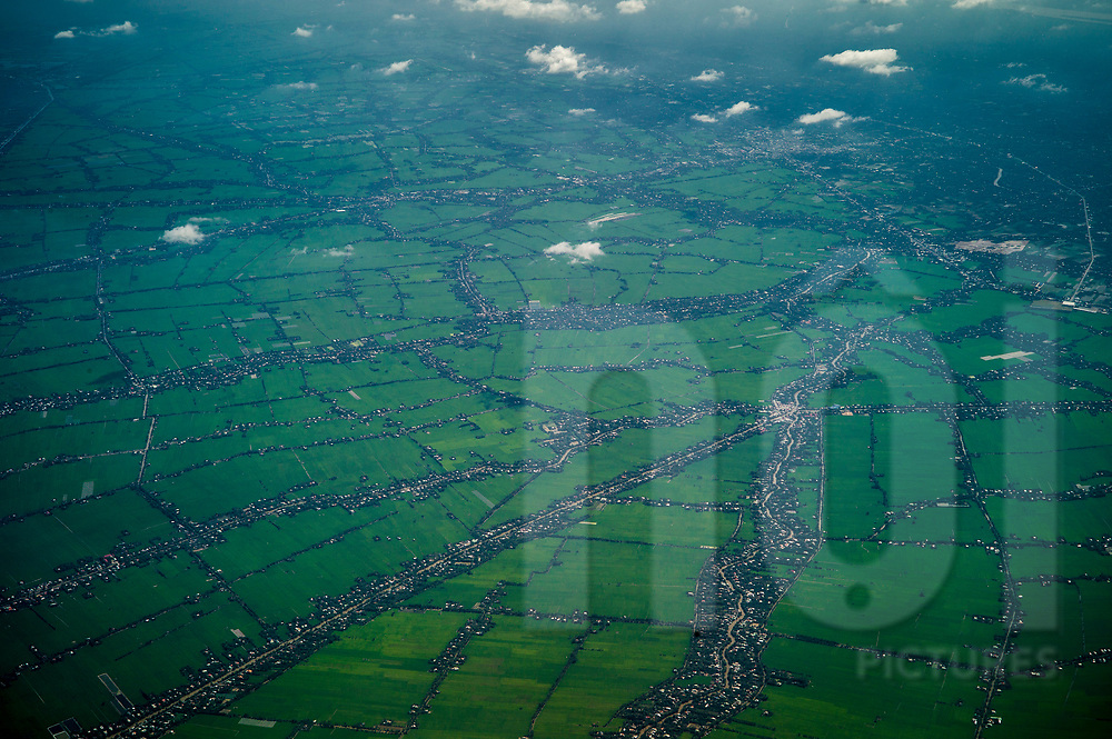 Farmlands above Tien Giang province, Vietnam, Southeast Asia