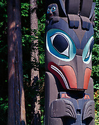 Figure of a whale on Cheif Skedans' Mortuary Pole.  Original pole carved in approximately 1870 in the Haida village of Skidegate.  This new pole carved in 1964 by Haida artist Bill Reid with assistance of Werner True for display at Stanley Park, Vancouver, British Columbia, Canada.