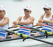 Poznan, POLAND,  GBR LW4X right ot left, Laura GREENHALGH, Andrea DENNIS and Jane HALL competing in the lightweight women's quadruple sculls, race for lanes, on the fourth day of the, 2009 FISA World Rowing Championships. held on the Malta Rowing lake,Wednesday  26/08/2009  [Mandatory Credit. Peter Spurrier/Intersport Images]