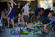 Some of the french riders relaxing after the A practice at the UCI BMX Supercross World Cup in Santiago del Estero, Argintina.