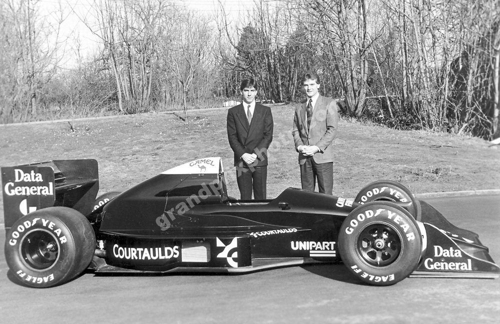 Julian Bailey and Jonathan Palmer at the launch of the 1988 Tyrrell-Ford 017. Photo: Grand Prix Photo