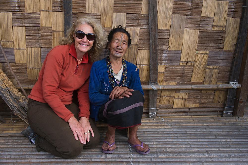 Apatani woman & Renee Bish<br /> Apatani Tribe<br /> Ziro Valley, Lower Subansiri District, Arunachal Pradesh<br /> North East India