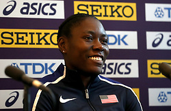 USA's Brittney Reese during a press conference on day one of the 2018 IAAF Indoor World Championships at The Arena Birmingham, Birmingham.
