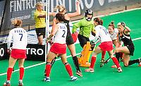 ANTWERP -    Gemma Flynn (r) scored for NZL during  the  semifinal hockeymatch   Korea vs New Zealand.  WSP COPYRIGHT KOEN SUYK