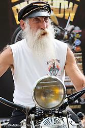 David Wasserman on his 1941 Harley-Davidson FL 74 inch Knucklehead at Warren Lane's True Grit Antique Gathering bike show at the Broken Spoke Saloon in Ormond Beach during Daytona Beach Bike Week, FL. USA. Sunday, March 10, 2019. Photography ©2019 Michael Lichter.