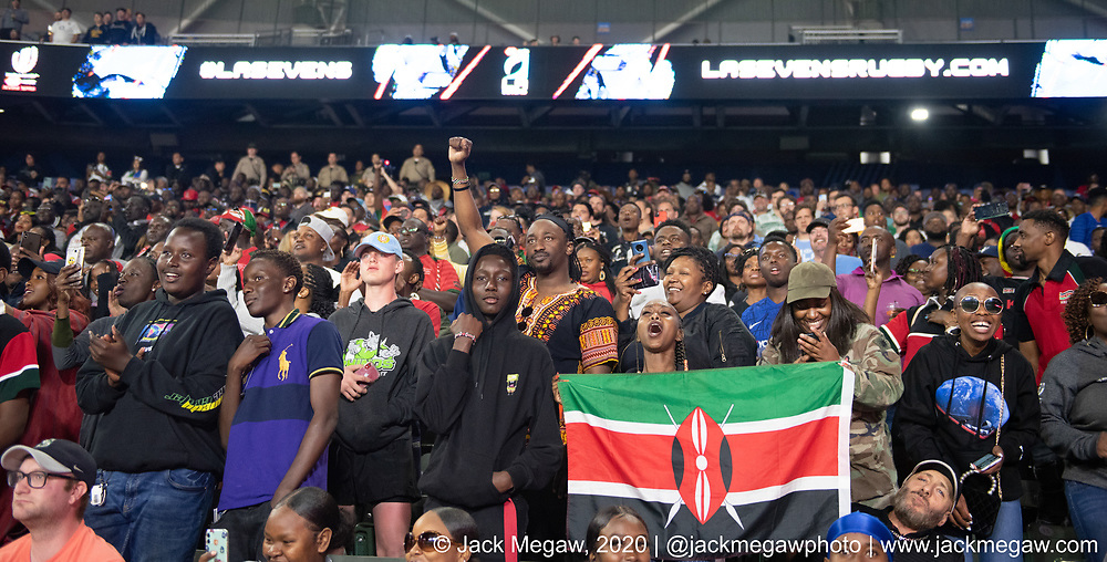 Kenya fans watch the action during the group stages of the 2020 Los Angeles Sevens at Dignity Sports Health Park in Los Angeles, California. February 29, 2019. <br /> <br /> © Jack Megaw, 2020