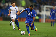 Loic Damour of Cardiff city in action.EFL Skybet championship match, Cardiff city v Leeds Utd at the Cardiff city stadium in Cardiff, South Wales on Tuesday 26th September 2017.<br /> pic by Andrew Orchard, Andrew Orchard sports photography.