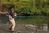 Angler George Rogers fights a fly caught king salmon on the Middle Fork of the Chulitna River, Alaska