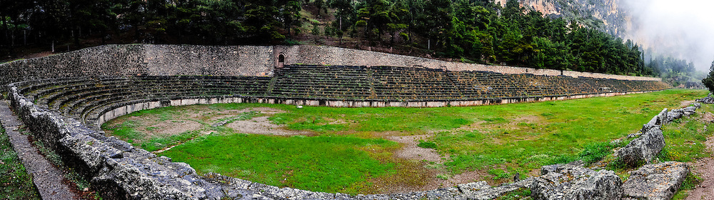 Delphi, Greece. In Greek mythology the site of the Delphic oracle. The Stadium above the main rions.
