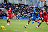 Peterborough United forward Ivan Toney (17) misses an effort at the back post during the EFL Sky Bet League 1 match between Peterborough United and Walsall at London Road, Peterborough, England on 22 December 2018.