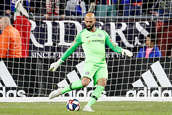 May 15, 2019 - Foxborough, MA, U.S. - FOXBOROUGH, MA - MAY 15: Chelsea FC goalkeeper Willy Caballero (13) plays the ball up the pitch during the Final Whistle on Hate match between the New England Revolution and Chelsea Football Club on May 15, 2019, at Gillette Stadium in Foxborough, Massachusetts. (Photo by Fred Kfoury III/Icon Sportswire) (Credit Image: © Fred Kfoury Iii/Icon SMI via ZUMA Press)
