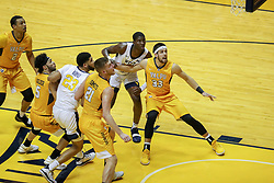 Nov 24, 2018; Morgantown, WV, USA; Valparaiso Crusaders guard John Kiser (33) boxes out West Virginia Mountaineers forward Lamont West (15) during the first half at WVU Coliseum. Mandatory Credit: Ben Queen-USA TODAY Sports