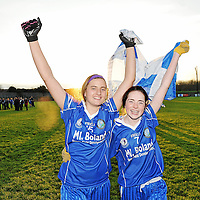 21 November 2010; Katie Geoghegan, left, and player of the match Shauna Harvey, West Clare Gaels, Clare, celebrate after the game. Tesco All-Ireland Intermediate Ladies Football Club Championship Final, West Clare Gaels, Clare v St Conleth's, Laois, McDonagh Park, Nenagh, Co. Tipperary. Picture credit: Diarmuid Greene / SPORTSFILE *** NO REPRODUCTION FEE ***