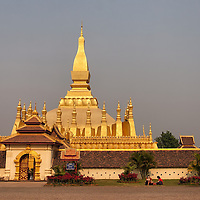 """According to """"Wikipedia"""" - Pha That Luang was destroyed by the Thai invasion in 1828, which left it heavily damaged and left abandoned. It was not until 1900 that the French restored to its original design based on the detailed drawings from 1867 by the French architect and explorer Louis Delaporte.[3] However the first attempt to restore it was unsuccessful and it had to be redesigned and then reconstructed in the 1930s.[3] During the Franco-Thai War, Pha That Luang was heavily damaged during a Thai air raid. After the end of World War II, Pha That Luang was reconstructed."""