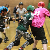 Manchester Roller Derby's Chaos Engine take on Scotland's Hades Roller Boys at George H Carnall Sports Centre, Manchester, 2014-09-27