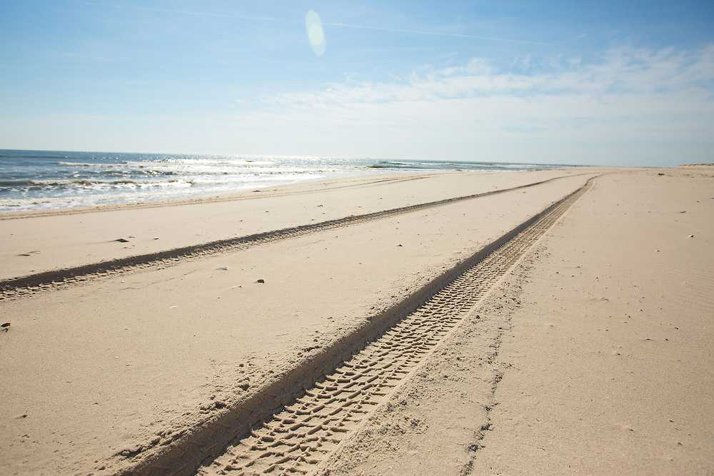 Tire tracks in the sand at Island Beach State Park in New Jersey. 3/24/16  Photo by John O'Boyle
