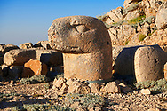 Statue head of an Eagle in front of the stone pyramid 62 BC Royal Tomb of King Antiochus I Theos of Commagene, east Terrace, Mount Nemrut or Nemrud Dagi summit, near Adıyaman, Turkey .<br /> <br /> If you prefer to buy from our ALAMY PHOTO LIBRARY  Collection visit : https://www.alamy.com/portfolio/paul-williams-funkystock/nemrutdagiancientstatues-turkey.html<br /> <br /> Visit our CLASSICAL WORLD HISTORIC SITES PHOTO COLLECTIONS for more photos to download or buy as wall art prints https://funkystock.photoshelter.com/gallery-collection/Classical-Era-Historic-Sites-Archaeological-Sites-Pictures-Images/C0000g4bSGiDL9rw