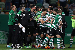 April 18, 2018 - Lisbon, Portugal - Sporting's forward Fredy Montero from Colombia (4rd L ) celebrates the victory with teammates after the Portugal Cup semifinal second leg football match Sporting CP vs FC Porto at the Alvalade stadium in Lisbon on April 18, 2018. (Credit Image: © Pedro Fiuza/NurPhoto via ZUMA Press)