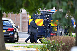 © Licensed to London News Pictures. 22/10/2016. London, UK. Police activity, believed to part of an ongoing operation, is seen in parts of Northolt, West London.  Residents report seeing a large amount of police vehicles from 5am this morning. Photo credit: Ben Cawthra/LNP