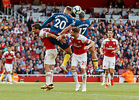 Football - 2018 / 2019 Premier League - Arsenal vs. West Ham United<br /> <br /> Andriy Yarmolenko (West Ham United) and Javier Hernandez (West Ham United) get in each others way as the cross comes over in the dying minutes of the game at The Emirates.<br /> <br /> COLORSPORT/DANIEL BEARHAM
