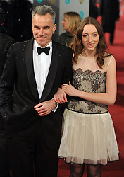 Daniel Day Lewis and Charissa Shearer during the British Academy Film Awards, The Royal Opera House, Bow Street, London, UK, Sunday February 10, 2013. Photo by Andrew Parsons / i-Images