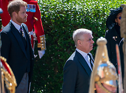 The Duke of Sussex and The Duke of York outside St George's Chapel, Windsor Castle, Berkshire, ahead of the funeral of the Duke of Edinburgh. Picture date: Saturday April 17, 2021.