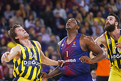 December 8, 2017 - Barcelona, Catalonia, Spain - Jan Vesely, Kevin Seraphin and Luigi Datome during the match between FC Barcelona v Fenerbahce corresponding to the week 11 of the basketball Euroleague, in Barcelona, on December 08, 2017. (Credit Image: © Urbanandsport/NurPhoto via ZUMA Press)