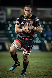 Dragons' Harri Keddie catches the ball before charging forward.<br /> <br /> Photographer Simon Latham/Replay Images<br /> <br /> Guinness PRO14 - Dragons v Edinburgh - Friday 23rd February 2018 - Eugene Cross Park - Ebbw Vale<br /> <br /> World Copyright © Replay Images . All rights reserved. info@replayimages.co.uk - http://replayimages.co.uk