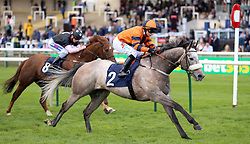 Major Jumbo ridden by Nicola Currie wins the Quy Mill Hotel & Spa Handicap during day one of The Bet365 Craven Meeting at Newmarket Racecourse, Newmarket.