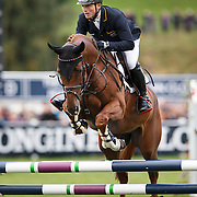 Longines FEI European Eventing Championship 2015 at Blair Castle, Blair Atholl, Scotland. Germany's Michael Jung was declared the Longines FEI European Eventing champion, with his eight-year-old horse Fischertakinou. Picture Robert Perry 13th Sept  2015<br /> <br /> Must credit photo to Robert Perry<br /> FEE PAYABLE FOR REPRO USE<br /> FEE PAYABLE FOR ALL INTERNET USE<br /> www.robertperry.co.uk<br /> NB -This image is not to be distributed without the prior consent of the copyright holder.<br /> in using this image you agree to abide by terms and conditions as stated in this caption.<br /> All monies payable to Robert Perry<br /> <br /> (PLEASE DO NOT REMOVE THIS CAPTION)<br /> This image is intended for Editorial use (e.g. news). Any commercial or promotional use requires additional clearance. <br /> Copyright 2014 All rights protected.<br /> first use only<br /> contact details<br /> Robert Perry     <br /> 07702 631 477<br /> robertperryphotos@gmail.com<br /> no internet usage without prior consent.         <br /> Robert Perry reserves the right to pursue unauthorised use of this image . If you violate my intellectual property you may be liable for  damages, loss of income, and profits you derive from the use of this image.