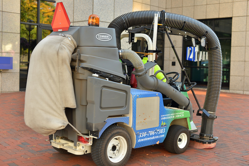 A sidewalk sweeper used by Downtown Akron Partnership's cleaning & safety ambassadors.