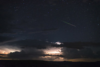 It wasn't just a good night for watching lightning, there were plenty of Delta Aquarid meteors as well. This one was particularly colorful.