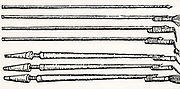 Pikes and lances fitted with small fire tubes which, when lit, propelled the missiles towards the enemy. From 'De la pirotechnia' by Vannoccio Biringuccio (Venice, 1540).  Woodcut.