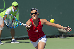 March 23, 2018 - Miami, FL, United States - Miami, FL - March, 23: Kirsten Flipkens (BEL) in action here, loses to Johanna Konta(GBR) at the 2018 Miami Open held at the Tennis Center at Crandon Park.   Credit: Andrew Patron/Zuma Wire (Credit Image: © Andrew Patron via ZUMA Wire)