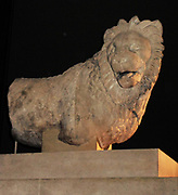 Colossal marble lion from a tomb monument.  Greek, about 350-200 BC,  from Knidos, south-weat Asia Minor (modern Turkey).  This colossal lion weighs some six tons.  Made from one piece of marble, it was mounted on a base crown in a funerary monument.  The monument itself was square with a circular interior chamber and a stepped-pyramid roof.