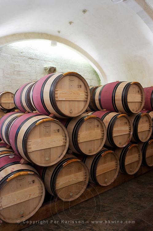 barrel aging cellar couvent des jacobins saint emilion bordeaux france