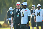 January 28 2016: Head Coach Andy Reid talks with Buffaloe Bills quarterback Tyrod Taylor during the Pro Bowl practice at Turtle Bay Resort on North Shore Oahu, HI. (Photo by Aric Becker/Icon Sportswire)