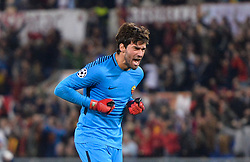 October 31, 2017 - Rome, Italy - Alisson Becker celebrates during the Champions League football match A.S. Roma vs Chelsea Football Club at the Olympic Stadium in Rome, on october 31, 2017. (Credit Image: © Silvia Lore/NurPhoto via ZUMA Press)