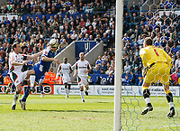 Photo: Steve Bond/Richard Lane Photography. Leicester City v Carlisle United. Coca Cola League One. 04/04/2009. Matty Fryatt gets in a diving header