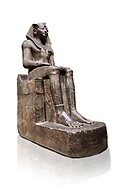 Ancient Egyptian statue of Tuthmosis II, granodorite, New Kingdom, 18th Dynasty, (1479-1425 BC), Karnak, Temple of Amun. Egyptian Museum, Turin. white background<br /> <br /> Tuthmosis II is shown wearing Royal regalia including the shendyt kilt, the nemes headdress and the uraeus cobra on his forehead. Between his legs in a bulls tail, the symbol of power. On the sides of the throne is the sema-tawy, a sign composed of a lotus and papyrus, the symbols od Upper and Lower Egypt. Under the feet of the king are the Nine Bows, the enemies of Egypt. Together these symbolise that the pharaoh keeps the two halves of Egypt together and protects them against her enemies. Drovetti Collection. C 1376 .<br /> <br /> If you prefer to buy from our ALAMY PHOTO LIBRARY  Collection visit : https://www.alamy.com/portfolio/paul-williams-funkystock/ancient-egyptian-art-artefacts.html  . Type -   Turin   - into the LOWER SEARCH WITHIN GALLERY box. Refine search by adding background colour, subject etc<br /> <br /> Visit our ANCIENT WORLD PHOTO COLLECTIONS for more photos to download or buy as wall art prints https://funkystock.photoshelter.com/gallery-collection/Ancient-World-Art-Antiquities-Historic-Sites-Pictures-Images-of/C00006u26yqSkDOM