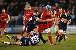 Jordan Crane of Bristol Rugby is tackled - Mandatory by-line: Robbie Stephenson/JMP - 13/01/2018 - RUGBY - Castle Park - Doncaster, England - Doncaster Knights v Bristol Rugby - B&I Cup