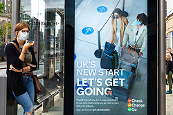 Edinburgh, Scotland, UK. 24 July, 2020. UK Government Brexit public information display on bus stop shelter on Princes Street in Edinburgh. The message is UK's New Start, Let's Get Going. The advice to Check, Change, Go is aimed at business so they can be prepared for new regulations after Brexit. Iain Masterton/Alamy Live News