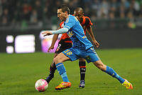 FOOTBALL - FRENCH CHAMPIONSHIP 2011/2012 - L1 - STADE RENNAIS v OLYMPIQUE MARSEILLE - 29/01/2012 - PHOTO PASCAL ALLEE / DPPI - MORGAN AMALFITANO (OM) / KEVIN THEOPHILE CATHERINE (REN)