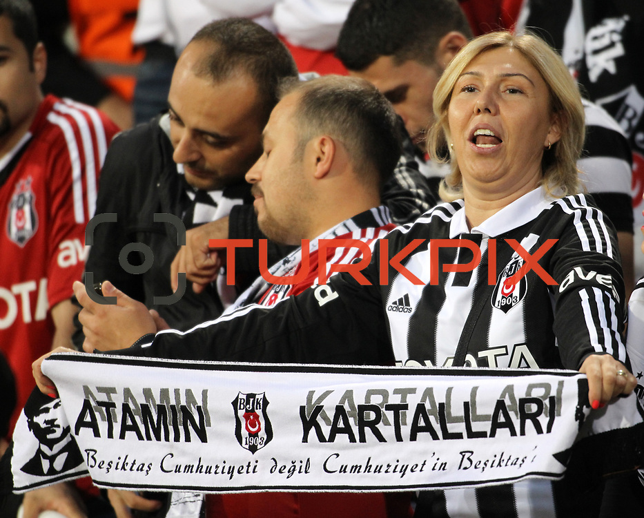 Besiktas's supporters during their Turkish Superleague soccer derby match Besiktas between Trabzonspor at the Inonu Stadium at Dolmabahce in Istanbul Turkey on Sunday, 21 October 2012. Photo by TURKPIX