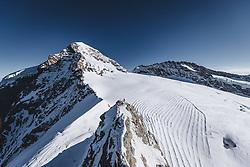15.01.2020, Jungfrauenjoch, Wengen, SUI, FIS Weltcup Ski Alpin, Vorberichte, im Bild Mönch (4107m) im Vordergrund Baustelle am Jungfraujoch (3466m) // Mönch summit (4107m) in the foreground construction site on the Jungfraujoch (3466m) during a preliminary reports prior to the FIS ski alpine world cup at the Jungfrauenjoch in Wengen, Switzerland on 2020/01/15. EXPA Pictures © 2020, PhotoCredit: EXPA/ Johann Groder **** ACHTUNG - dieses Bilddatei ist für den Grossformatdruck in einer maximalen Grösse mit mehr als 18142 x 6717 pixel (ca. 700 MB) verfügbar! Fragen Sie nach den hochauflösenden Daten // ATTENTION - This image file is for Large Format Printing available in a maximum size of more then 18142 x 6717 pixels (about 700 MB)! Ask for the high-resolution data. ****