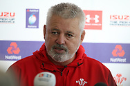 Warren Gatland, the Wales rugby team head coach announces his team to play against Scotland. Wales rugby team announcement press conference at the Vale Resort Hotel in Hensol, near Cardiff , South Wales on Tuesday 30th January 2018.  the team are preparing for their opening Natwest 6 Nations 2018 championship match against Scotland this weekend.   pic by Andrew Orchard