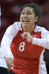 13 October 2012: Stacy Niao during an NCAA volleyball game between the Drake Bulldogs and the Illinois State Redbirds.  The Redbirds won the match in 3 straight sets at Redbird Arena in Normal Illinois