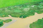 Nederland, Groningen, Oldambt, 05-08-2014; vogelkijkhut de Kiekkaaste, gelegen aan de Dollard. <br /> The bird hide Kiekkaaste, located at the Dollard, on the border with Germany. <br /> luchtfoto (toeslag op standard tarieven);<br /> aerial photo (additional fee required);<br /> copyright foto/photo Siebe Swart