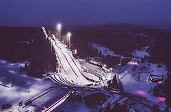 THEMENBILD - die Skisprungschanzen des Granasen Skicenters am Abend mit Kunstlicht , aufgenommen am 13. Maerz 2019 in Trondheim, Norwegen // the ski jumping hills of the Granasen Skicenter in the evening with artificial light, Trondheim, Norway on 2018/03/13. EXPA Pictures © 2019, PhotoCredit: EXPA/ JFK